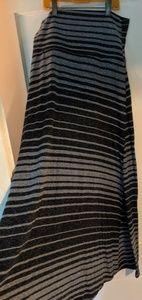 Mossimo foldover black & gray striped maxi skirt